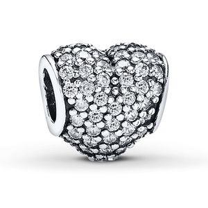 Pandora Charm CZ Pavé Heart Sterling Silver